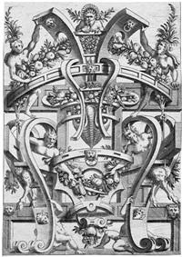 groteskenornament mit satyrn und früchten by cornelis bos