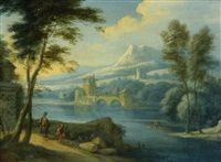 a landscape with three figures and a castle in the distance; a landscape with two figures resting by a path (a pair) by flemish school (18)