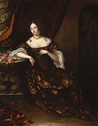 a portrait of a lady, seated, wearing an elaborate dress by aleijda wolfsen
