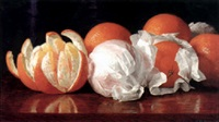 still life with wrapped oranges by william j. mccloskey