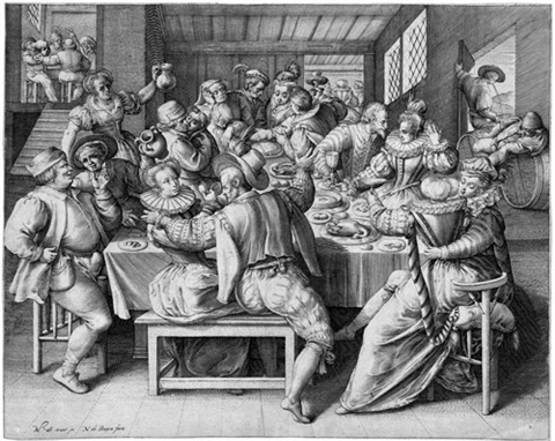 das haus des festmahls (domus laetitiae) (from das haus der trauer und des festmahls)(after maarten de vos) by nicolaes de bruyn
