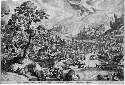 sechs landschaften mit der geschichte des tobias set of 6 by gerard de jode by hans bol
