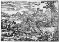 die landschaft mit der melkenden kuhhirtin (after titian) by niccolo boldrini