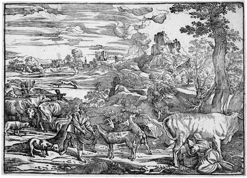 die landschaft mit der melkenden kuhhirtin after titian by niccolo boldrini
