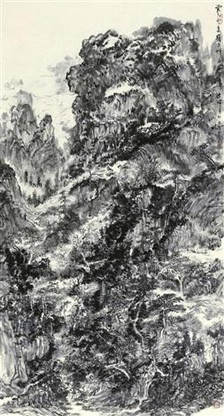 云去云来岭上峰 (landscape calligraphy) by hong bo