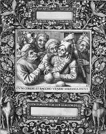 sittenbild mit zechenden bauern und einer bäuerin in ornamentaler rahmung by johann theodor de bry