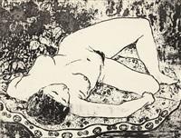 femme nue allongée by pan yuliang