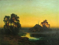 a landscape at twilight by bernhard karl mackeldey