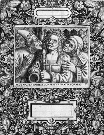 sittenbild mit junger braut und altem mann in ornamentaler rahmung by johann theodor de bry