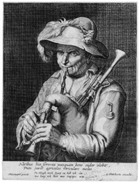 ein dudelsackspieler (after abraham bloemaert) by cornelis bloemaert the younger