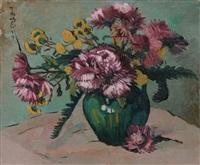 bouquet de chrysanthemes roses by pan yuliang