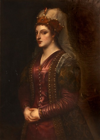 portrait of caterina cornaro dressed as st catherine of alexandria by titian tiziano vecelli