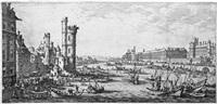 les deux grandes vues de paris (vue du louvre; vue du pont-neuf) (2 works) by jacques callot