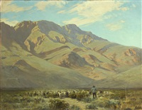 shepard and his flock with mountains beyond by victor coleman anderson