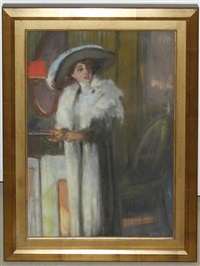 woman with a large hat by louis fortuney