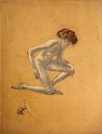 study of a nude female figure by arthur bowen davies