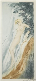 waterfall and fountain (2 works) by louis icart