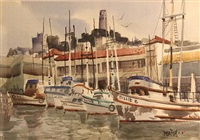 fishing boats at the wharf with coit tower in the distance by jade fon