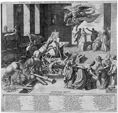 der eselen kunstkammer - tabula asinaria: eine eselshorde verwüstet die werkstatt eines gelehrten by isaak duchemin