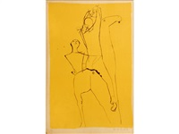 two acrobats on a horse (g. l54) by marino marini
