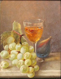 still life with grapes, fig and wine by susie w. dugan