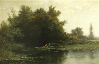 two figures in a rowboat by albert babb insley