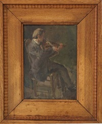 seated man playing the violin by henri frédéric boot