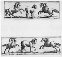 quadrupedum icones vivae (16 works on 8 sheets w/title after antonio tempesta) by johann theodor de bry