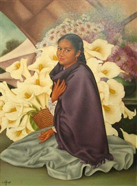 young woman with calla lilies by enrique d'aoust