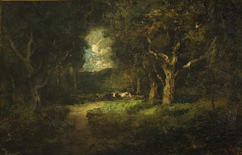 cows in a forest clearing by william keith