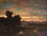 two figures on a country path at sunset by hudson river school