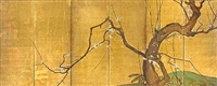 blossoming plum (six panel screen) by japanese school-kano (17)