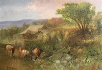 cattle and haystacks by charles t. webber