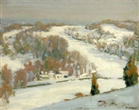 gray skies and snow field by percy william holt