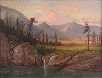 indian camp near lake with mountain in the distance by henry arthur elkins