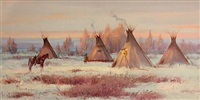 tepees on the winter plains by ace powell