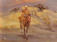 a plains warrior on horseback by ace powell