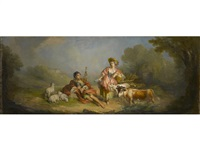 the letter; a travelling musician; the rest (3 works) by françois boucher