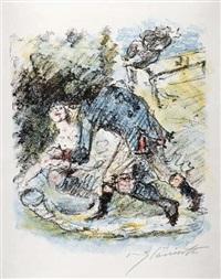 aline kommt zu fall (from die königin von golkonde) by lovis corinth
