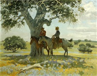two cowboys under a tree by jack n. swanson
