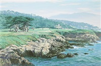 playing the 17th green, cypress point golf course, carmel by arthur weaver