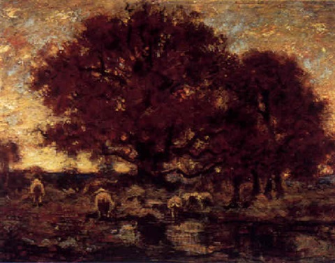 cattle watering under a tree at sunset by louis paul dessar