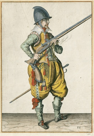 ein soldat mit seiner muskete im anschlag ein soldat seine muskete nach oben wendend 2 from musketiere und pikeniere by jacques de gheyn ii