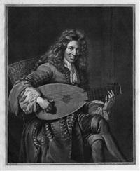 bildnis eines laute spielenden mannes (after de troy) by gérard edelinck