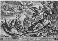 der schlafende herkules und die pygmäen (after frans floris) by cornelis cort
