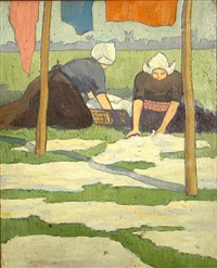 maartje and neltje in the yard by isabelle clark percy west