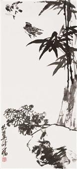竹雀图 by liang qi