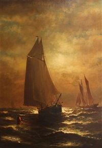 ships at dusk by elbridge wesley webber