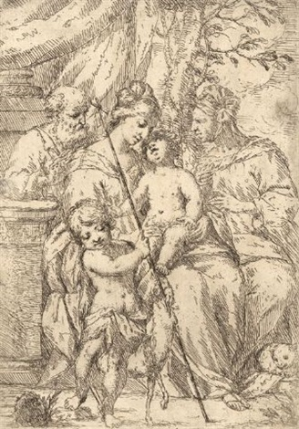 die heilige familie mit elisabeth und johannes d t by giuseppe diamantini