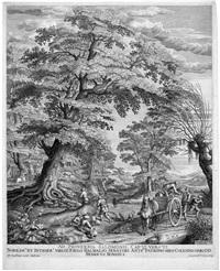landschaft mit bauersleuten und pferdefuhrwagen by hendrik hondius the elder
